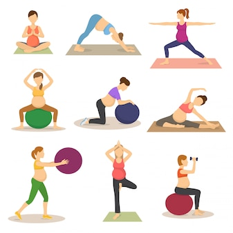 Fitness pregnancy vector pregnant woman character does yoga or exercises with fitball illustration set of expecting mother