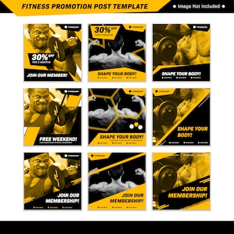 Fitness promotion social media instagram post template in yellow black masculine sporty style