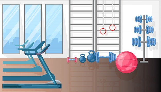 トレッドミルとスポーツ用品のあるフィットネスルーム