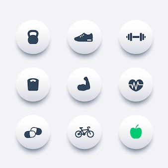 Fitness round modern icons, vector illustration