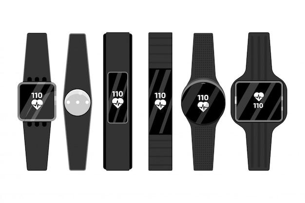 Fitness run tracker band set. sport bracelet or  wristband.