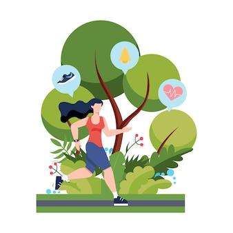 피트니스 실행 또는 조깅 개념. 건강하고 활동적인 삶에 대한 아이디어. 면역 개선 및 근육 형성. 삽화