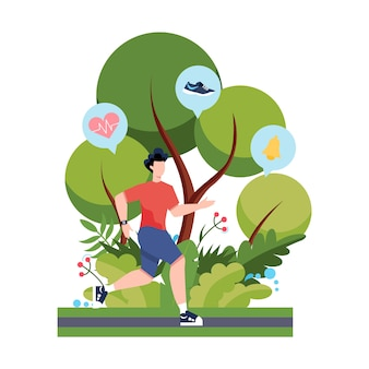 Фитнес, бег или бег трусцой. идея здоровой и активной жизни. улучшение иммунитета и наращивание мышц.