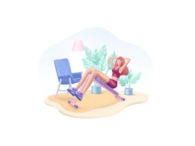 피트니스 시리즈 : 소녀는 복근에 운동을 수행합니다. 집에서 운동.