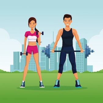 Fitness and sexy young couple at park