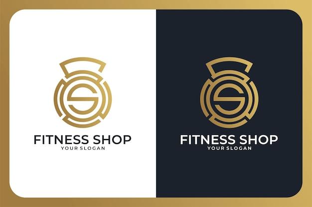 文字sのロゴデザインと名刺のあるフィットネスショップ
