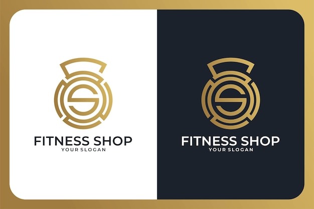 Fitness shop with letter s logo design and business card