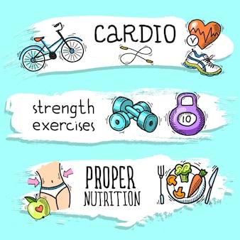 Fitness sketch banner set