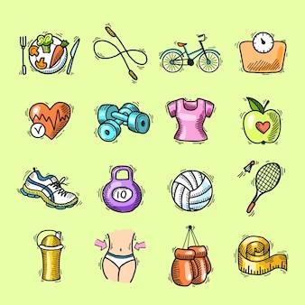 Фитнес эскиз цветные иконки набор