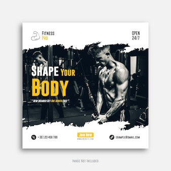 Fitness social media post or gym web bannertemplate