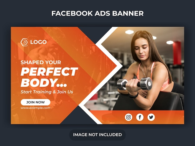 Fitness social media post or work out banner or gym social media template or sport banner template or fitness and gym social media banner template or facebook ads banner