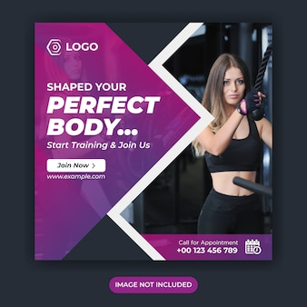 Fitness social media post or work out banner or gym social media template or sport banner template or fitness and gym social media banner template or instagram square post template