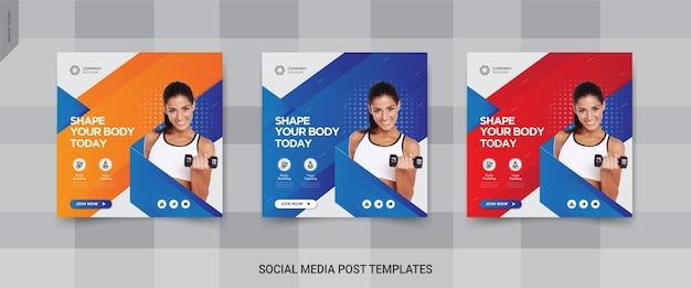 Фитнес в социальных сетях квадратный пост баннер