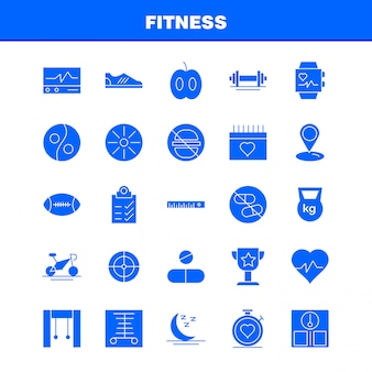Fitness solid glyph icon pack