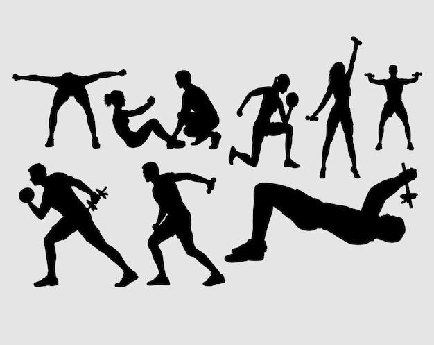 Fitness sport activity silhouette