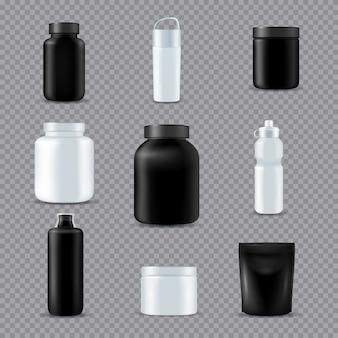 Bottiglie sport fitness realistiche trasparenti