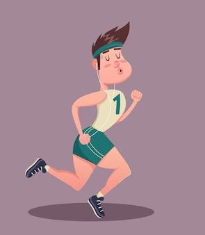 피트니스, 스포츠, 운동, 교육 및 라이프 스타일 개념-젊은 남자 조깅. 벡터 일러스트 레이 션