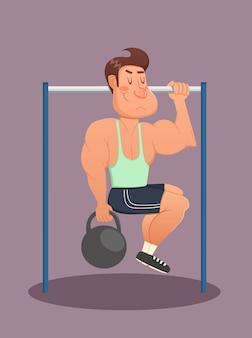 Фитнес, спорт, здоровье, упражнения, обучение и концепция образа жизни - молодой человек делает упражнения на турнике. векторная иллюстрация