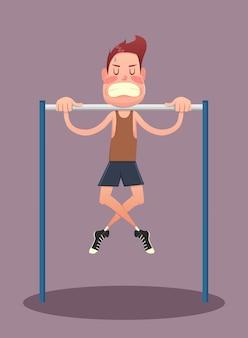 피트니스, 스포츠, 건강, 운동, 교육 및 라이프 스타일 개념-가로 막대에서 운동을하는 젊은 남자. 벡터 일러스트 레이 션