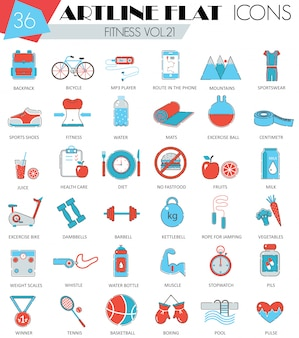 Fitness sport and health flat line icons set