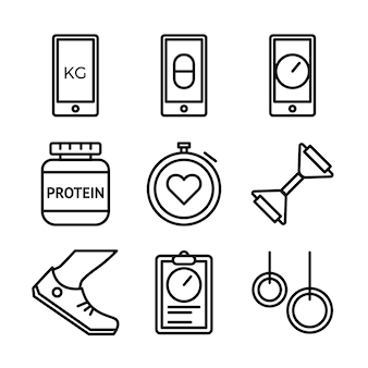 Fitness and sport icons set. healthy lifestyle symbols.