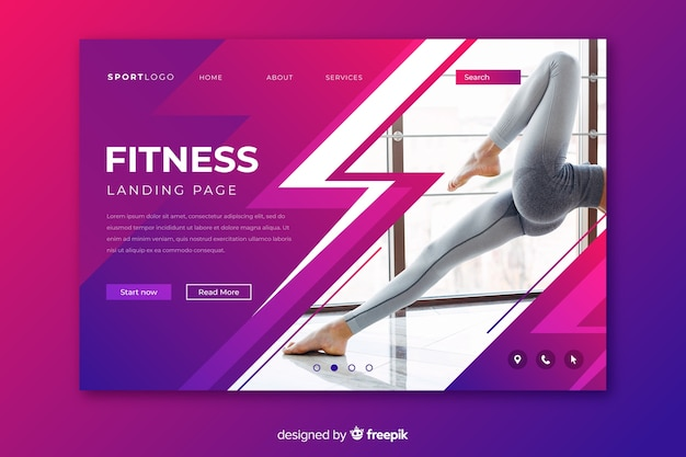 Fitness sport landing page with image