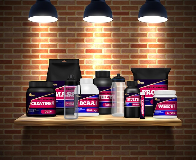 Fitness sport nutrition packages jars and  drink bottles realistic composition on shelf brick wall