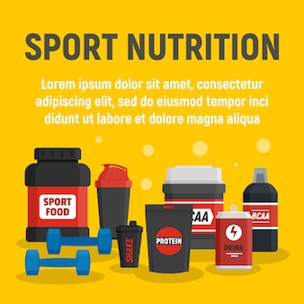 Fitness sport nutrition template, flat style