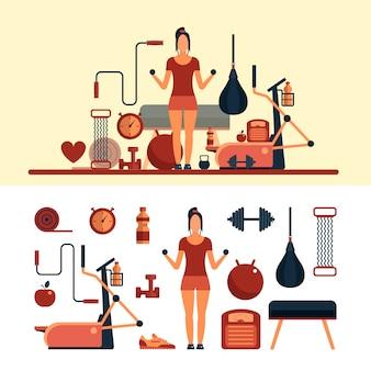 피트니스 스포츠 개체. 여자는 체육관에서 운동. 피트니스 센터 및 체육관 장비.