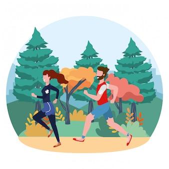 Fitness sport train cartoon