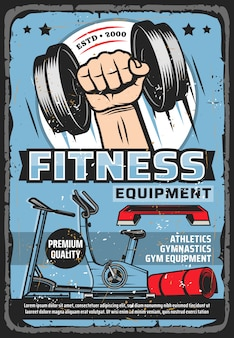 Fitness and sport training equipment store poster