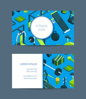 Fitness and sports club business card template