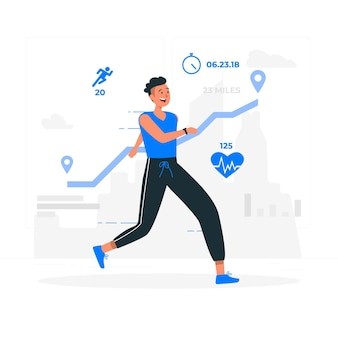 Fitness stats concept illustration