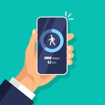 휴대 전화의 피트니스 단계 추적기 앱. 보수계. 스마트 폰 디스플레이의 주간 활동 및 추적 데이터.