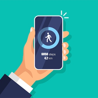 Fitness step tracker app in phone. pedometer. day activity and tracking data on smartphone display.