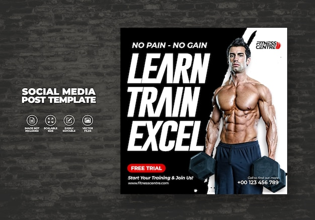 Fitness studio or gym social media banner or square excercise sport flyer   template