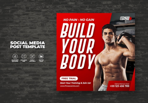 Fitness studio or gym social media banner or square sport flyer template