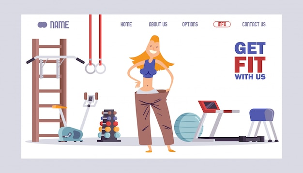 Fitness studio website , gym landing page concept