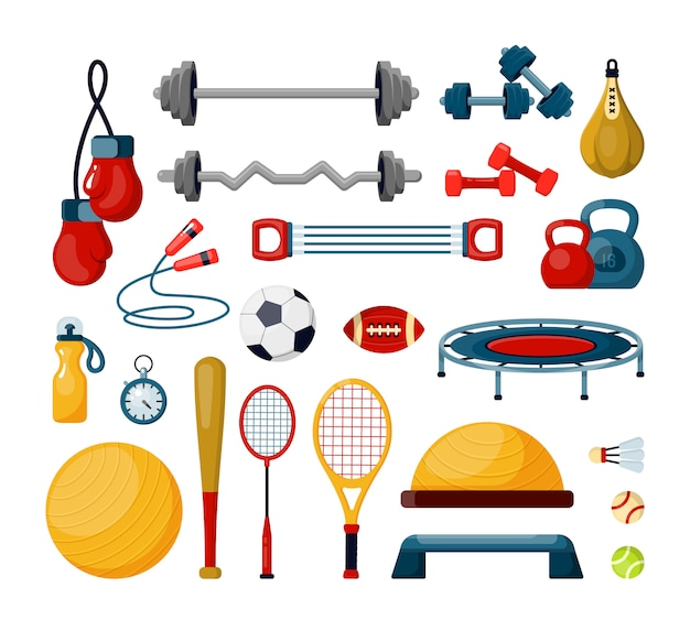 Fitness tools flat vector illustrations set. various balls