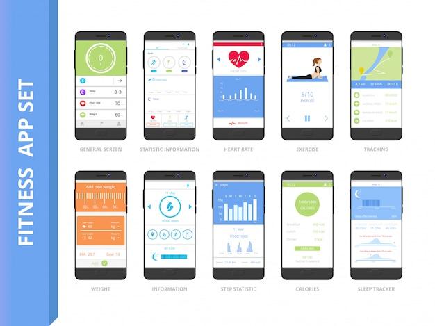 Fitness tracker app interface set
