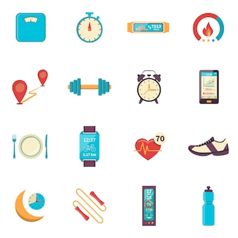 Fitness tracker flat color icons