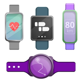 Fitness tracker icons set, cartoon style