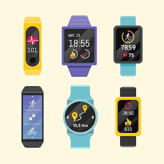 Fitness trackers in flat design