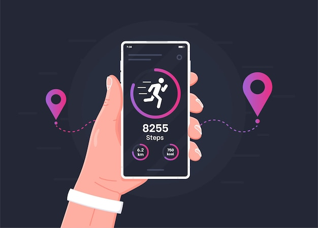 Fitness tracking app on mobile phone screen illustration flat cartoon style