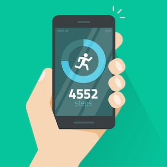 Fitness tracking app on mobile phone or smartphone screen vector illustration