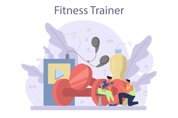 피트니스 트레이너 개념. 직업 스포츠맨과 체육관에서 운동. 건강하고 활동적인 생활 방식. 피트니스 시간.