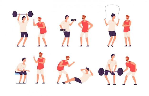 Тренер по фитнесу. мужской личный тренер помогает тренировке парня культуриста тренируя комплект спортзала