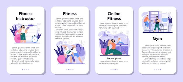 Fitness trainer mobile application banner set workout in the gym