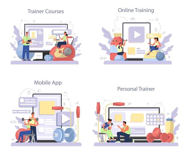 피트니스 트레이너 온라인 서비스 또는 플랫폼 세트. 체육관에서 운동