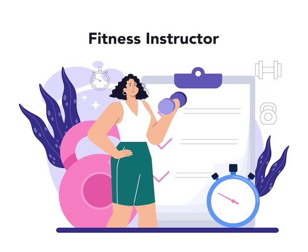 フィットネストレーナー。プロのインストラクターと一緒にジムでトレーニング。ジムまたはオンラインでのトレーニング。健康的でアクティブなライフスタイル。フラットベクトルイラスト